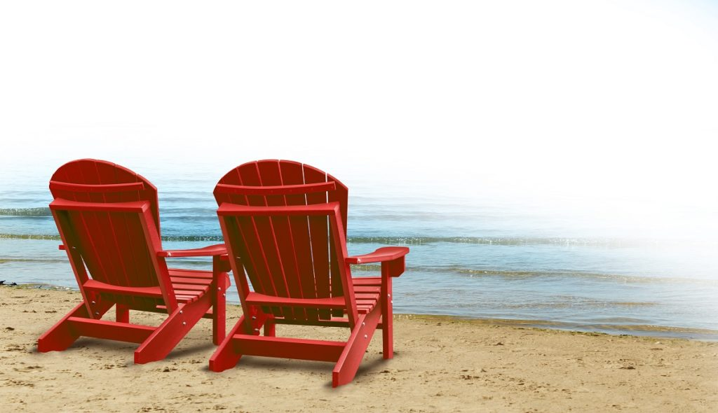 two red beach chairs
