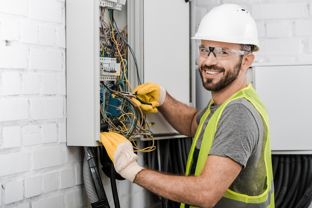 portrait of a smiling electrician