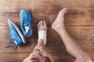 person with an injured ankle