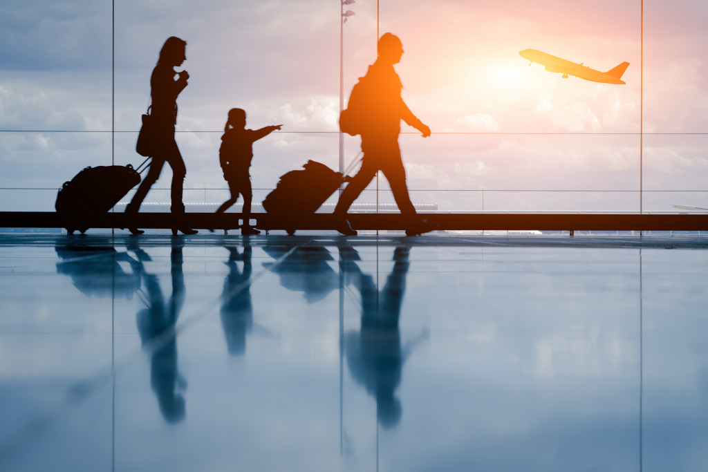 family on a flight