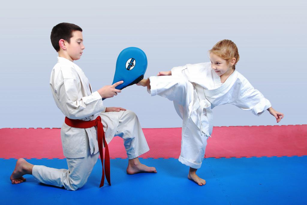 kid practising karate